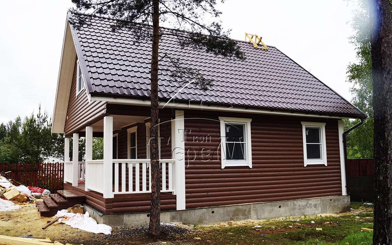 Строительство дома из бруса 8 на 9 м. СНТ Чайка